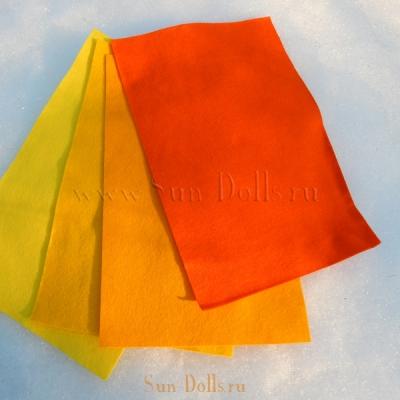 Фетр шерсть-вискоза, 1 лист 20*30 см — жёлтый золотой