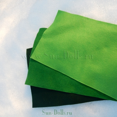 Фетр шерсть-вискоза, 1 лист 20*30 см — зеленый